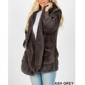 New! Grey Soft Fur Sherpa Coat Bundle 2 For $49